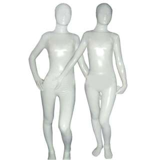 White Cream Shiny Metallic Full Body Zentai Suit S XXL #ZB016