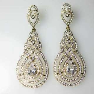 Goldtone Swarovski Crystal Bridal Chandelier Earrings