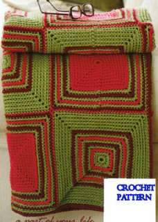 Matching Afghans & Pillows Crochet Knit Patterns Basket