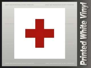 RED CROSS Flag Sticker Vinyl Bumper Window Decal F1