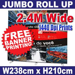 Kiosk Trade Show Booth 2.4M Pop Up Banner Stand + PRINT