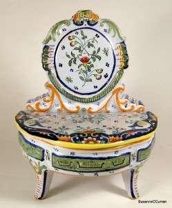 Antique French Majolica Figural Trinket Dresser Box