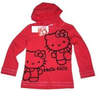 HELLO KITTY T Shirt /Kapuzen Longshirt   rot mit Glitzermotiv und
