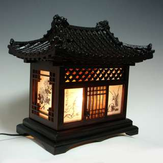 Wooden Art Shade Lantern Bedside Home Deco Oriental Asian House Table