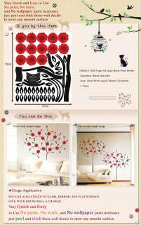 PS 58011 RED GERBERA TREE WALL ART PAPER DECO STICKER