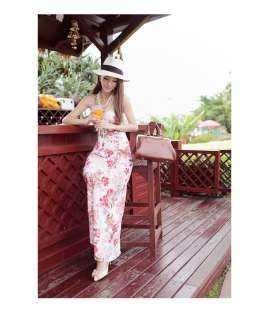 Women Chiffon Full Length Halter Dress,One Size 5151 BNWT