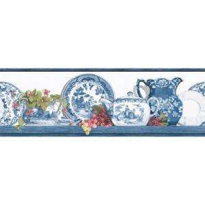 The Wallpaper Company 6.83 in X 15 Ft Blue Willow Border WC1282925 at