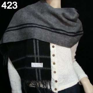 vogue chic womens 2ply king soft Cashmere wool Scarf Shawl grey c73