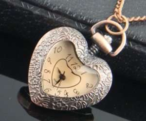 Quartz Heart Pocket Watch Necklace Pendant ladies pocket watches