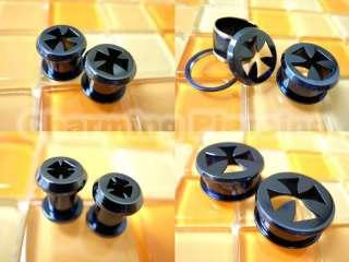 Silver Black Golden Blue Steel Cross Star Flesh Tunnels Ear Plugs