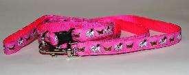 Designer Papillon Dog Collar/Leash Set Pink Small NEW