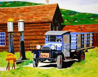 Painting by Ezi Algazi   Antique Ford Truck Farm   Shell Gas Station