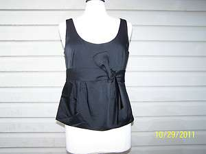 Black Ann Taylor Holiday Camisole Tank Cami Top Bow Size 10