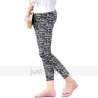 Fashion Women English Letters Pattern Velveteen Stretchy Leggings