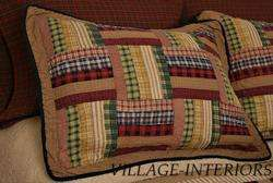 AMERICANA LODGE CABIN TEA DYED SIX BARS PATCHWORK QUILTED PILLOW SHAM
