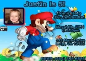 Mario Kart Wii Personalized Photo Birthday Invitation
