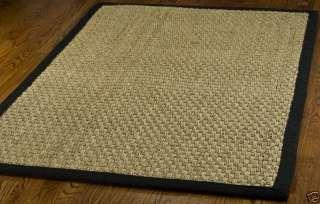 Hand woven Natural/ Black Seagrass Carpet Area Rug 6 Square