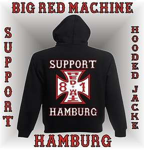 SUPPORT Kapuzen Jacke Hamburg IRON CROSS S M L XL XXL ZIP Hoodie