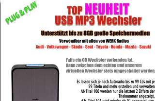 USB SD  Wechsler CD AUX In Adapter 12Pin VW Golf 5 V 6 VI +Cabrio