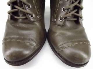 Womens boots olive green leather Seychelles 8.5 M ankle cap toe dress