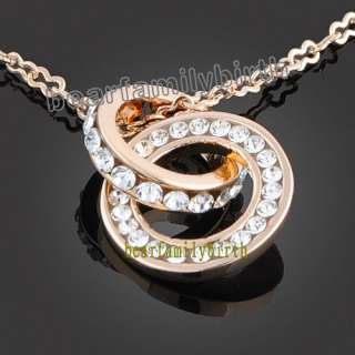 18K gold Gp Swarovski Crystal two circles necklace 627