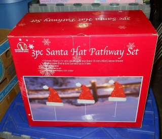 Seasonal Visions Santa Hat Pathway Light Set 3 Piece Christmas Yard