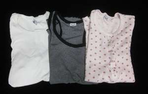 LOT 3 SPLENDID PETIT BATEU White Black Pink Shirts Sz L