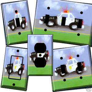 ch au Police Car Rescue Light Switch Cover wall plate