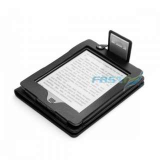 BLACK PU LEATHER CASE COVER FOR  KINDLE TOUCH WIFI/3G WITH BUILT
