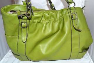 Emilie M Lime Green Faux Leather Large Tote with Abstract Beige