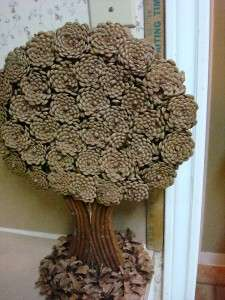 Handmade FLT Pine Cone Artsy Tree Craft Wooden Pine Cone Tree Art