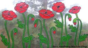BEAS STAINED GLASS EFFECT POPPY WINDOW CLINGS DECALS~