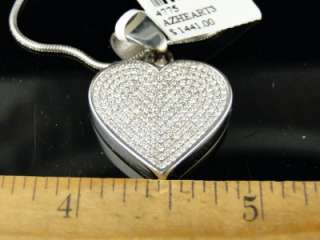 STAINLESS STEEL PAVE ROUND CUT DIAMOND HEART PENDANT + CHAIN ARCTICA