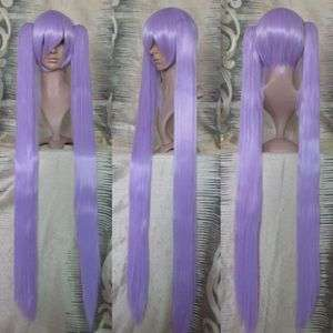 Womens Long Light Purple Ponytail Hair Cosplay Party Wig