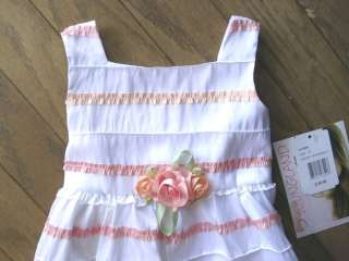 Toddler Girls Party Dress White Pink Lace Youngland Size 2T 4T Satin