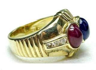 New 14k Yellow Gold Cabochon Ruby Sapphire Diamond ring