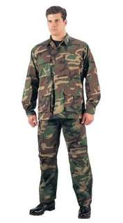 WOODLAND CAMOUFLAGE ARMY BDU SHIRT RIP STOP