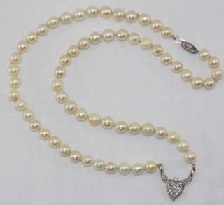 Vintage Estate Akoya Pearl & 14k White Gold Diamond Pendant Necklace