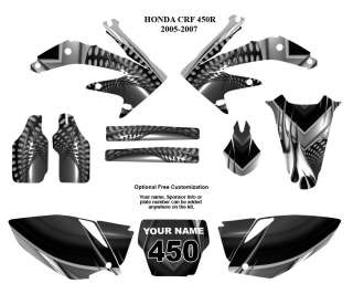 Honda CRF 450R 2005   2007 Motocross Bike Graphic Decal Kit #7777METAL