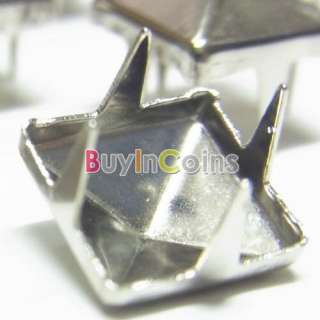 50CS 8MM Pyramid Studs Spots Nickel Punk Rock Design Spikes Heavy Duty