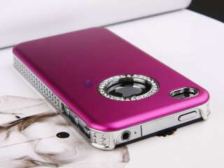 Fuschia Luxury Bling Diamond Crystal Case Cover F iPhone 4S 4 + Free
