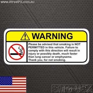 NO SMOKING Warning sticker decal for chev nissan bmw