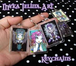 Gothic Hindi Purple Moon Fairy Art Keychain Angel Kami