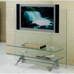 CLEAR GLASS UPRIGHT PLASMA TV LCD STAND UNIT BRACKET