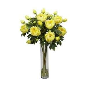 Peony with Cylinder Silk Flower Arrangement   Nearly