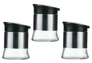 Set of 3 Tea Coffee Sugar Storage Canisters Flip Jars