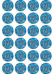 24 BLUE HAPPY 60TH BIRTHDAY RICE PAPER CUP CAKE TOPS