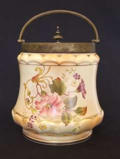 Antique Carlton Ware Floral Blush Biscuit Barrel