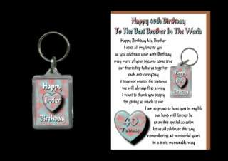 40TH HAPPY BIRTHDAY BROTHER 40 CARD AND KEYRING GIFT