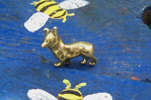 Vintage Solid Brass Small Pembrokeshire Corgi Dog 1.1/2